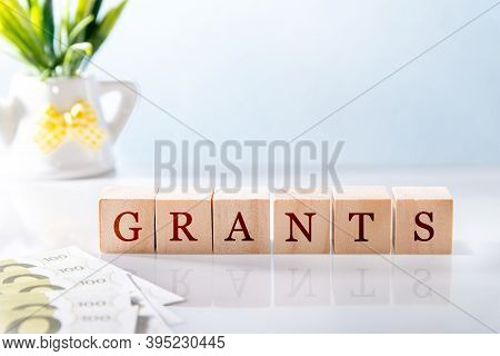 Grants Word Written On Wooden Cube Blocks On White Glossy Background. Business Concept.