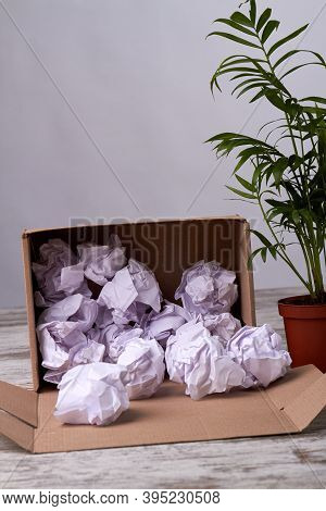 Crumpled Paper Balls Filler In Cardboard Box. Opened Parcel With Filler On Wooden Floor. Green House