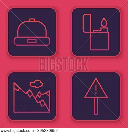 Set Line Beanie Hat, Mountains, Lighter And Exclamation Mark In Triangle. Blue Square Button. Vector