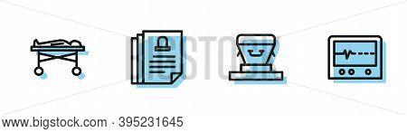 Set Line Coffin, Dead Body The Morgue, Death Certificate And Beat Dead Monitor Icon. Vector