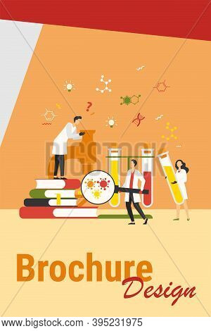 Group Of Scientists With Microscope, Chemical Tubes And Books Doing Epidemiology Research. Chemists