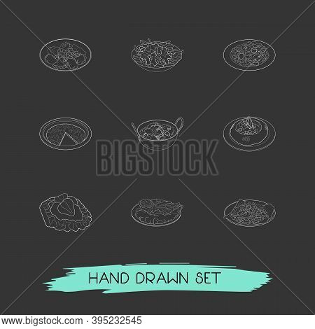 Set Of Food Icons Line Style Symbols With Dining, Chicken Tikka Masala, Finnish Squeaky Cheese And O