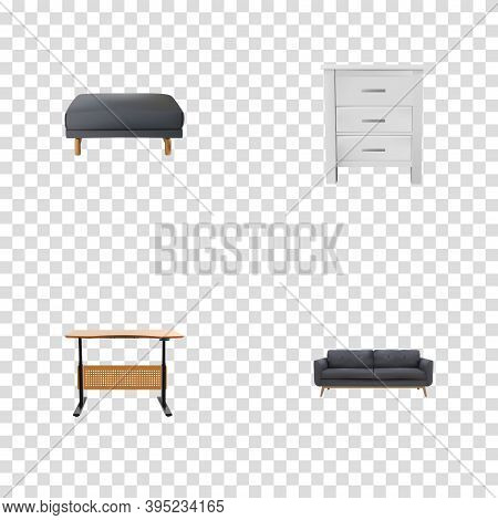 Set Of Decoration Realistic Symbols With Desk, Pouf, Settee And Other Icons For Your Web Mobile App