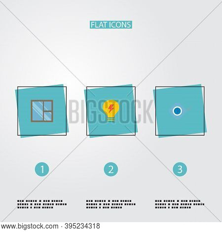 Set Of Industry Icons Flat Style Symbols With Tape Measure, Casement, Electricity And Other Icons Fo