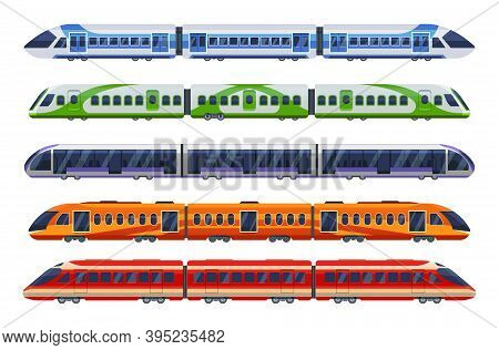 Set Of Railway Transport, Trains, Subways, Metro