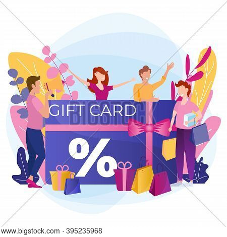 Buyers Receive A Gift Card. Cheerful People Are Happy To Discount A Coupon Or Voucher. Loyalty Progr
