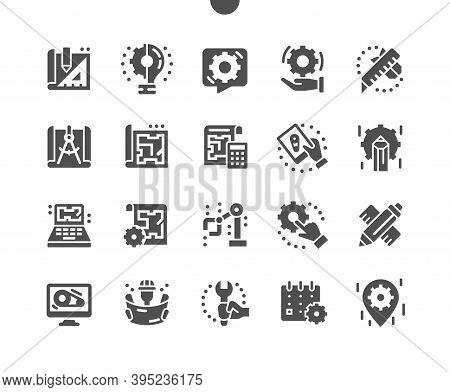 Engineering. Manufacturing Factory. Industrial Work Project. Engineer, Settings. Designing Drawings