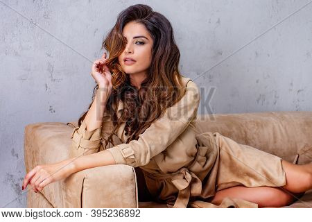 Sensual Portrait Of Beautiful Brunette Woman Looking Away.