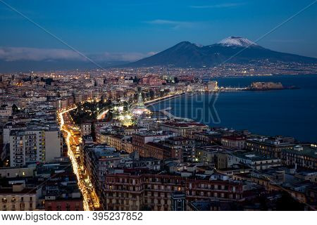 Nocturnal View Of Naples With Vesuvvius Mount