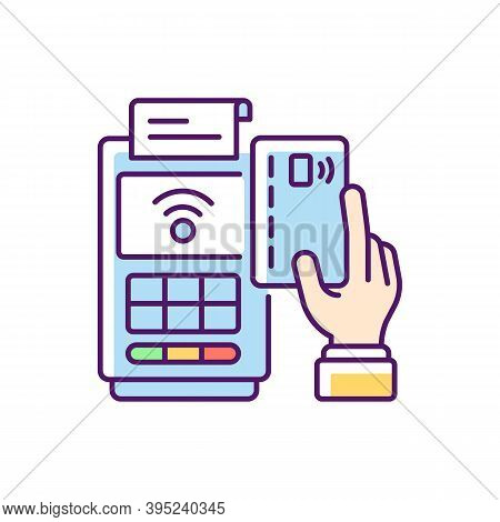 Cashless Payment Rgb Color Icon. Paying Online. Collecting Cash From Customers. Financial Transactio