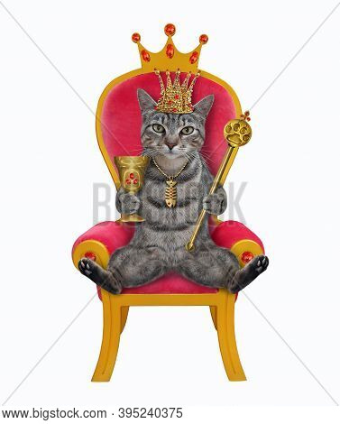 A Gray Cat King In A Gold Crown Holds A Scepter And A Goblet In A Red Throne. White Background. Isol
