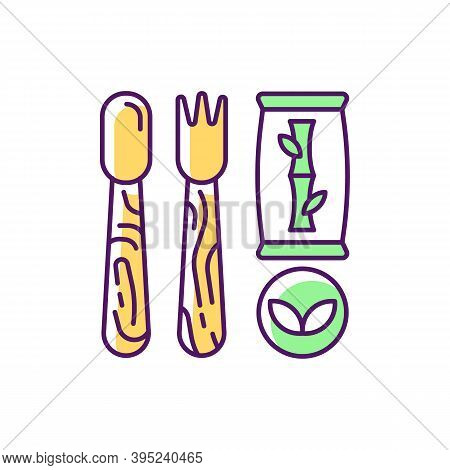 Disposable Cutlery Rgb Color Icon. Eco-friendly Alternatives. Wooden, Bamboo Utensils. Traditional P