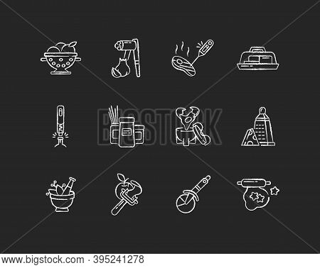 Kitchen Tools Chalk White Icons Set On Black Background. Cooking And Serving Meal. Home Culinary. Fo
