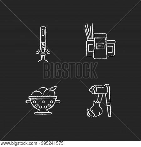 Food Preparation Tools Chalk White Icons Set On Black Background. Corkscrew For Bottle. Kitchen Stor