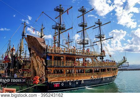 Turkey, Alanya - October 22, 2020: Pirate Ship Bl.alanya 241 With People On Deck Parked In Alanya Ya
