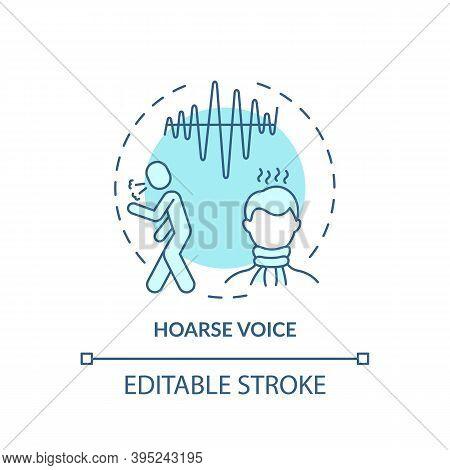 Hoarse Voice Concept Icon. Sore Throat Symptom Idea Thin Line Illustration. Breathy, Raspy Sound. Sc