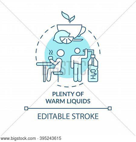Warm Liquids Concept Icon. Effective Remedy For Killing Bacteria Idea Thin Line Illustration. Loosen