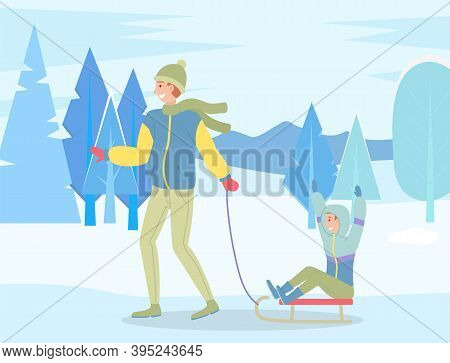 Family Wearing Warm Winter Clothes Walking In Snowy Park, Father Ride Son On Sledge, Man Spend Leisu