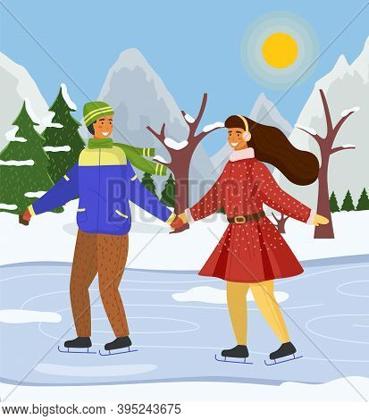 Couple Skating Together In Winter At Snow Landscape Background, Snow-covered Trees And Fir-trees, Mo