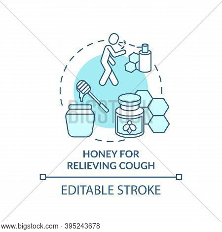 Honey For Relieving Cough Concept Icon. Cough Suppressant Idea Thin Line Illustration. Antimicrobial
