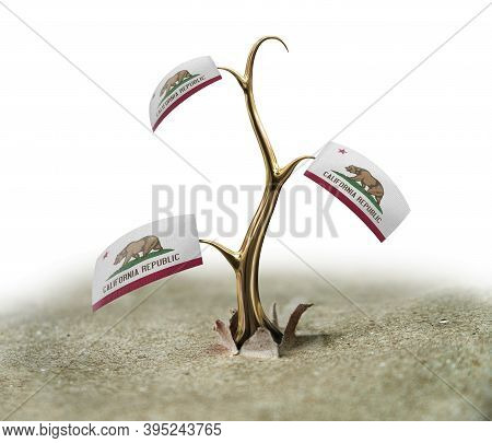 3d Illustration. 3d Sprout With California Flag On White