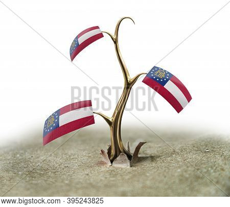 3d Illustration. 3d Sprout With Georgia Flag On White