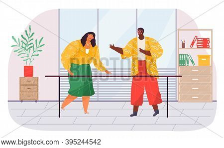 Communication Of Office Workers, African Black Man Talking With Colleague, Businesswoman And Guy Sta