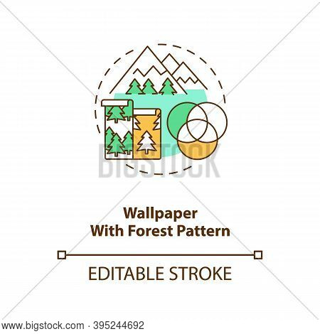 Wallpaper With Forest Pattern Concept Icon. Wall Art With Nature Texture. House Interior Improvement