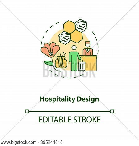 Hospitality Design Concept Icon. Comfortable Hotel. Guest House. Natural Materials In Interior. Biop