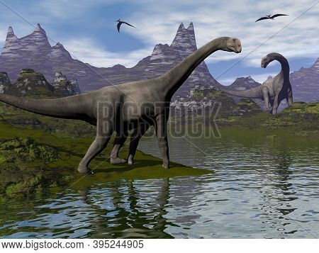 Brontomerus Dinosaurs Walking In A Landscape By Day - 3d Render
