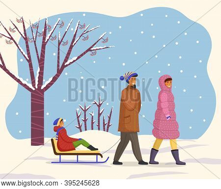 Family Wearing Warm Winter Clothes Walking, Father Holding Hand By Rope And Ride Son On Sledge, Moth