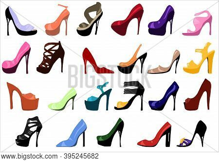 High Heels. Set Of Womens Shoes Vector Flat Fashion Design