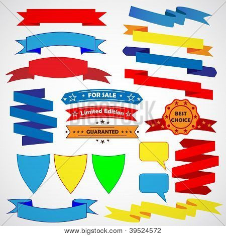 Vintage stylish ribbons. Colored. For web. Vector illustration