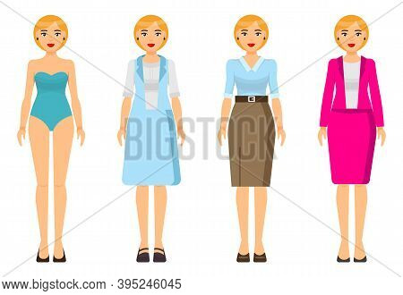 Cartoon Characters. Woman Blond With Short Haircut Wearing Different Clothes. Girl In Underwear. Bus