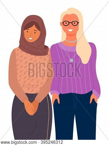 International Nationality, Woman Wearing Hijab Standing Near American Blonde Girl In Glasses, Young