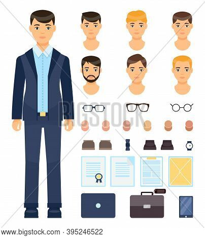Isolated Young Guy In Formal Suit. Change Set Of Businessman. Different Types And Colors Of Haircuts