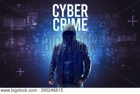 Faceless man with CYBER CRIME inscription, online security concept