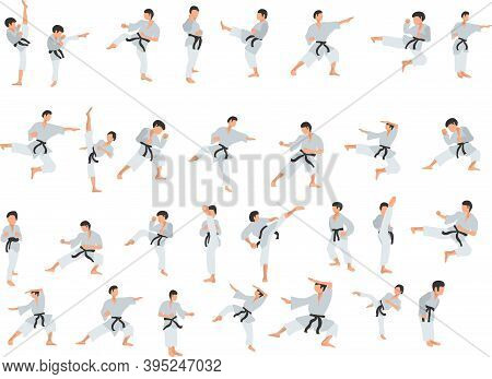 Set Of Karate Fighter. Couple Exercising Karate Martial Art Silhouette