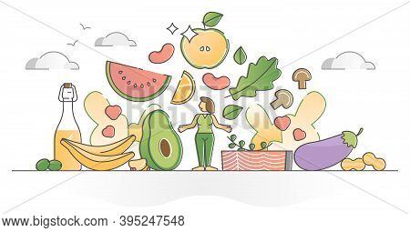 Healthy Eating Lifestyle With Fresh Organic Food Ingredients Outline Concept. Health Diet With Raw V