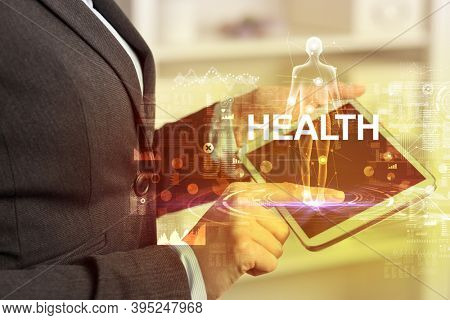 Electronic medical record with HEALTH inscription, Medical technology concept