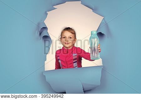 Small Girl Hold Bottle Of Water. Sport And Health. Living Healthy Life. Thirsty Kid Ready To Drink W