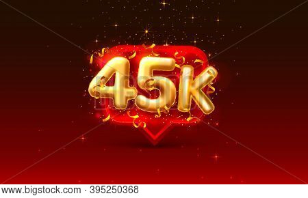 Thank You Followers Peoples, 45k Online Social Group, Happy Banner Celebrate, Vector