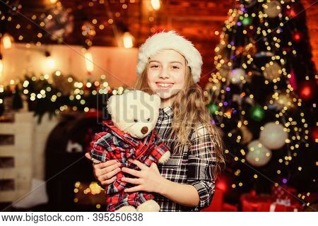 Happy New Year To You. Little Girl In Hat. Xmas Holiday. Happy New Year. Xmas Gift For Little Girl.