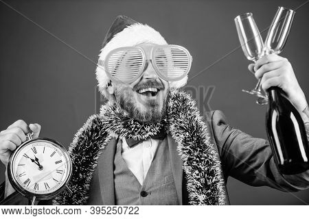 Man Bearded Hipster Santa Hold Bottle. Corporate Christmas Party. Time Celebrate Winter Holiday. Bos