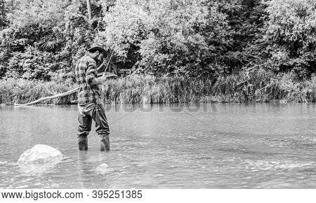River Lake Lagoon Pond. Trout Farm. Fish Farming Pisciculture Raising Fish Commercially. Fisherman A
