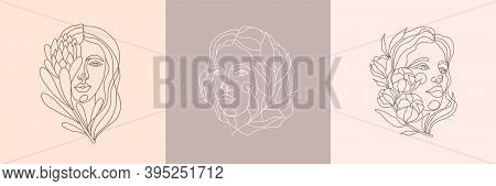 Set Of Abstract Minimalist Female Portrait With Flower. Vector Illustration Of A Female Face In A Li