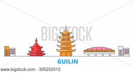 China, Guilin Line Cityscape, Flat Vector. Travel City Landmark, Oultine Illustration, Line World Ic