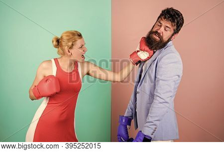 Gender Equal Rights. Family Quarrel. Strong Punch. Boxers Fighting In Gloves. Gender Equality. Man A