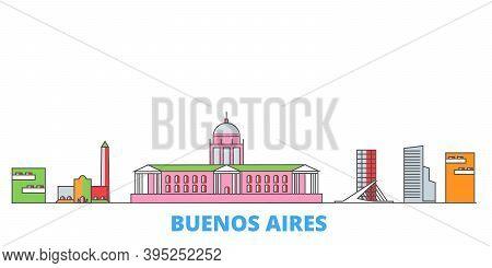 Argentina, Buenos Aires City Line Cityscape, Flat Vector. Travel City Landmark, Oultine Illustration