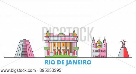 Brazil, Rio De Janeiro Line Cityscape, Flat Vector. Travel City Landmark, Oultine Illustration, Line